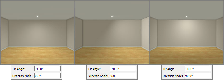 Lighting differences when tilt and direction angle are adjusted