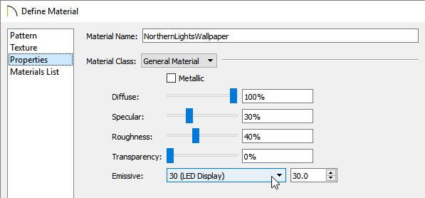 Adjusting the Emissive setting in the Define Material dialog