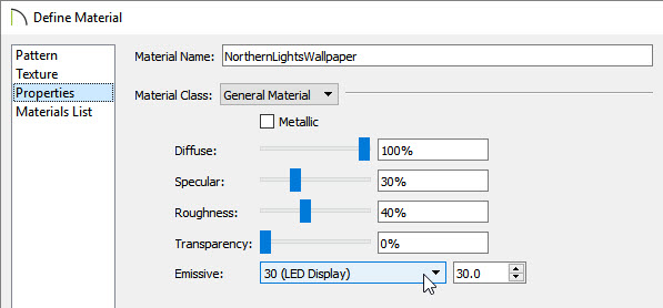 Adjusting the Emissive setting in the Define Material dialog