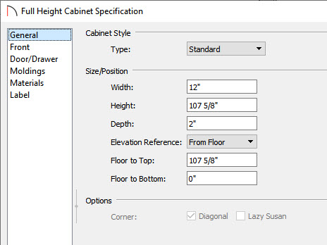 cabinet specification dialog general editting