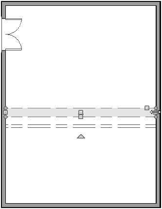 Floor plan view showing soffit placed near Room Divider wall and resized to the full width of the room