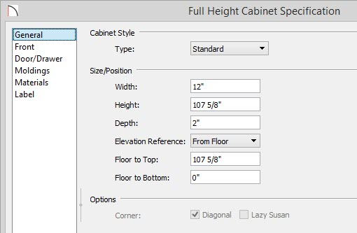 "Full Height Cabinet Specification dialog showing Width of 12"" and Depth of 2"" and a Height value of 107 5/8"""