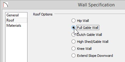 Wall Specification dialog with Full Gable Wall selected on Roof panel