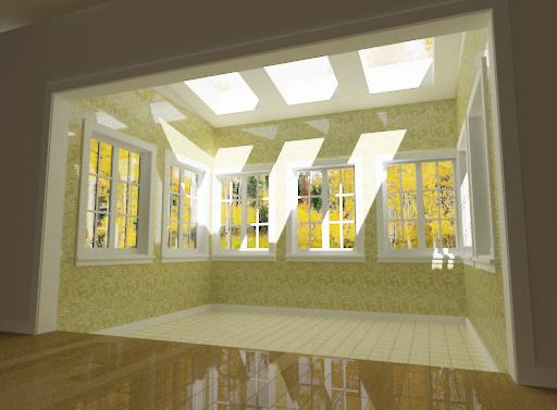 Camera View showing sunroom from inside main house showing windows and skylights