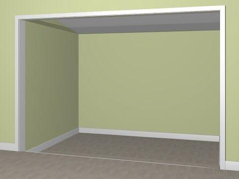 Camera view showing sunken room through doorway