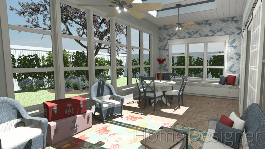 Sun room with several windows and furniture