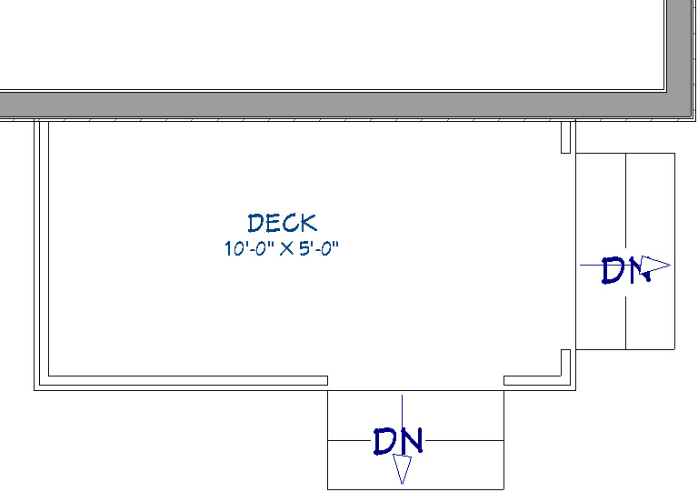Deck room with two staircases