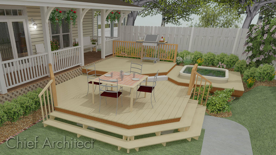 Deck with wrap-around stairs leading to terrain