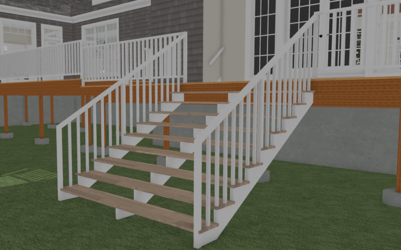 Camera view of the generated stairs