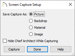 Screen Capture Setup dialog