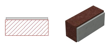 2D display and 3D display of brick with mortar