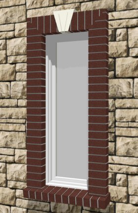 Window surrounded with brick including an angled brick sill