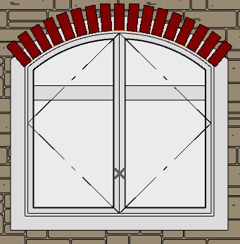 Window showing all the bricks arched across top of CAD arc