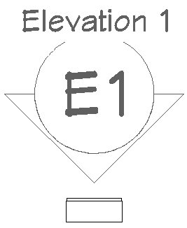 Elevation 1 camera marker and symbol of brick with mortar