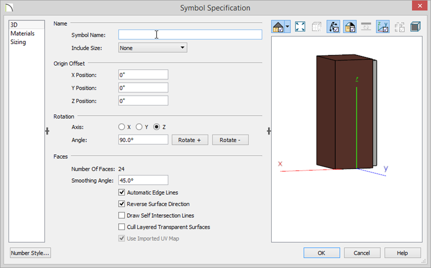 Symbol Specification dialog showing preview of symbol rotated including x, y and z origin
