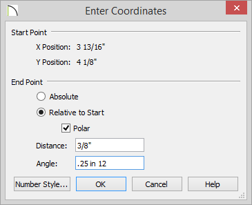 Enter Coordianates dialog with Relative to Start selected, Polar selected and 3/8 inch for Distance and .25 in 12 set for Angle