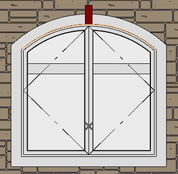 2 1/4 by 7 5/8 polyline box for first brick centered above window tangent to orange arc drawn earlier