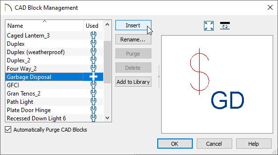Garbage Disposal CAD block selected in the CAD Block Management dialog