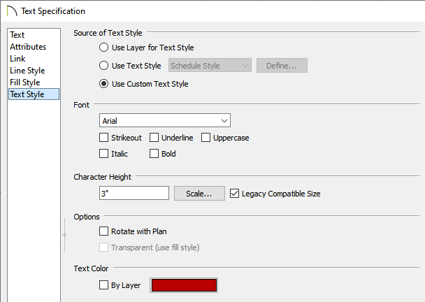 Text Style panel of the Text Specification dialog