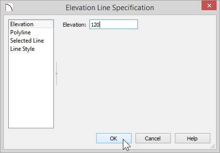 Elevation Line Specification dialog with 120 inches entered for Elevation