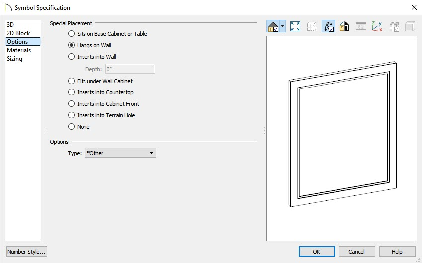 Selecting the Hangs on Wall placement option located on the Options panel of the Symbol Specification dialog