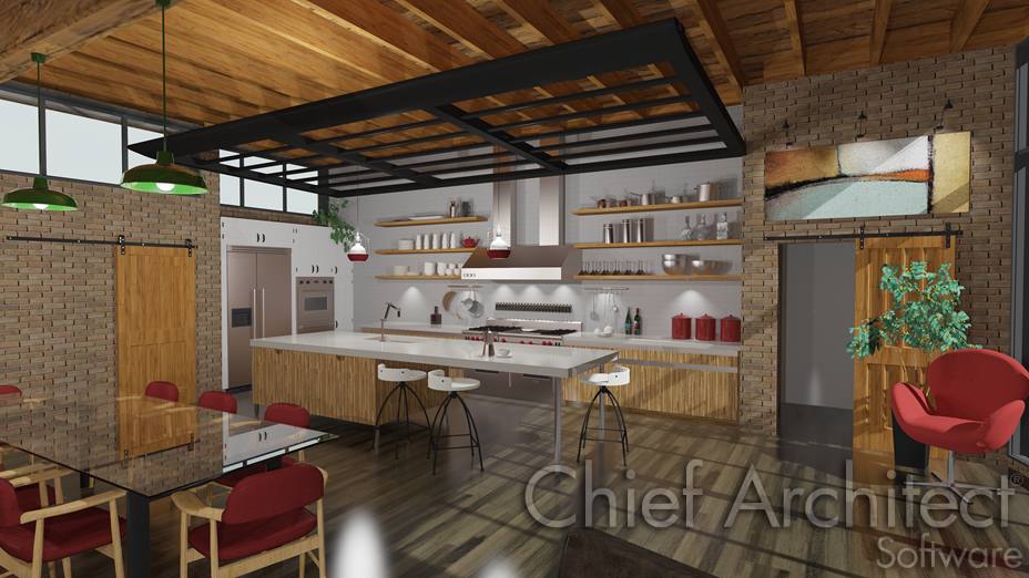 Interior kitchen and dining room with sliding barn door