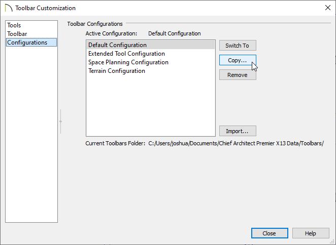Copy a configuration to create a custom toolbar configuration