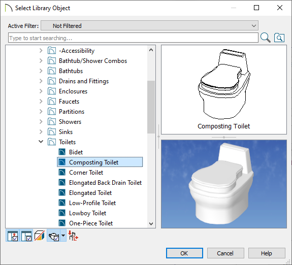 Select library object dialog choosing the composting toilet