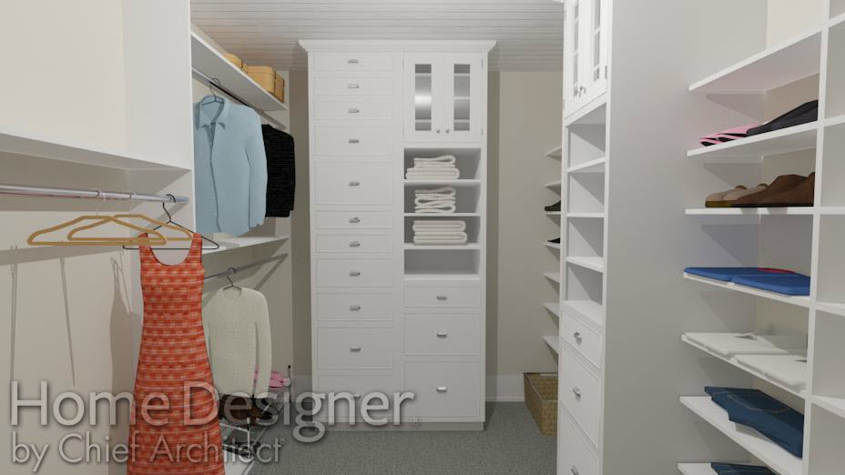 Closet with custom storage built in