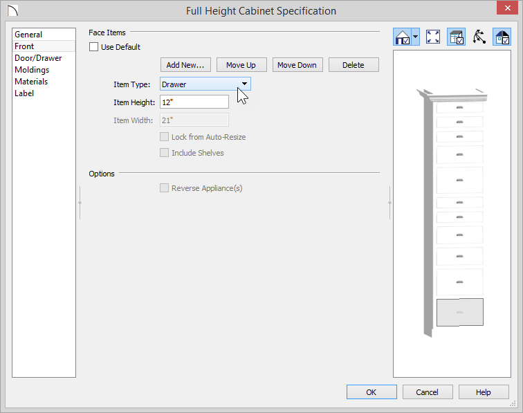 Full Height Cabinet Specification dialog showing Item Type of Drawer and Item Height of 12 inches