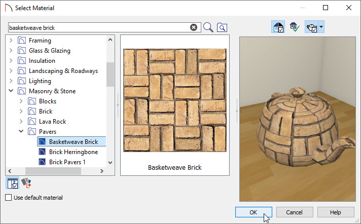 Choosing a material to paint on the driveway area with the material painter tool