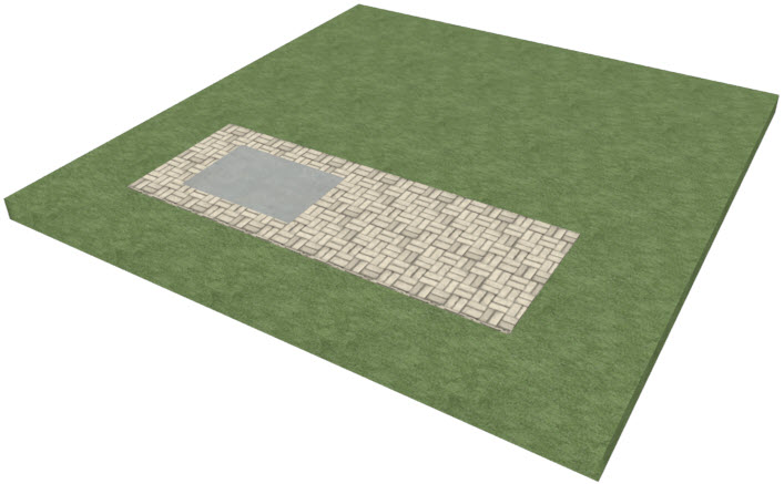 Perspective view showing both driveway areas stacked on top of each other