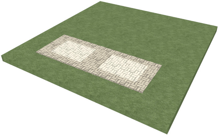 Perspective view showing a way a custom driveway pattern can be achieved