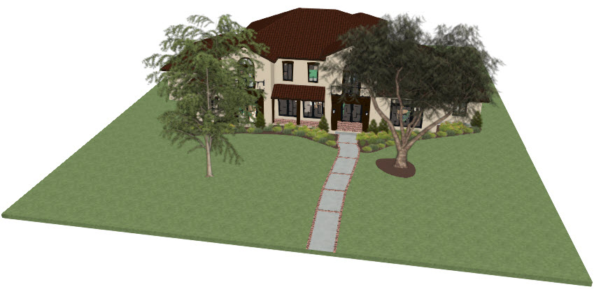 Perspective of a house with a custom walkway surface