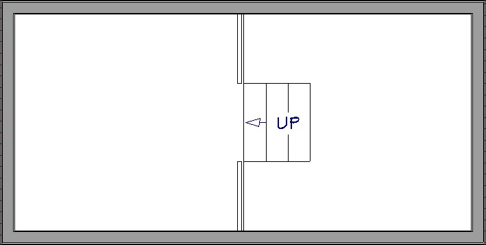 Stair section created between the two rooms with varying floor heights