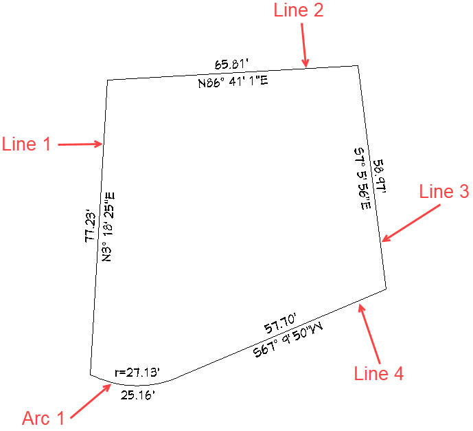 Plot plan polyline with lengths and quandrant bearings listed for each line and arc