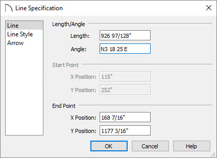 Entering an Angle in the Line Specification dialog