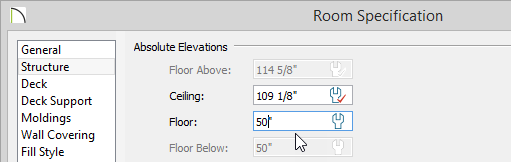 Room Specification of Deck with a Floor value of 50 inches