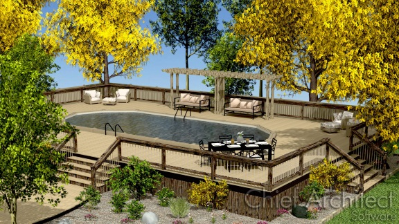 Creating a deck around an above ground pool or spa for Above ground pool metal decks