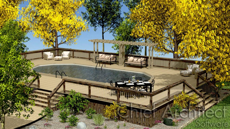 Outside above ground pool in deck