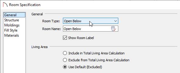 General panel of the Room Specification dialog
