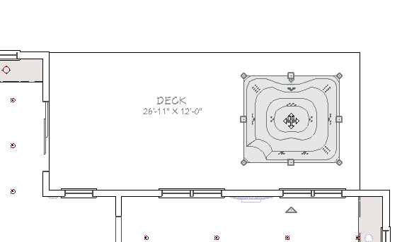 Positioning the hot tub in the plan using the edit handles