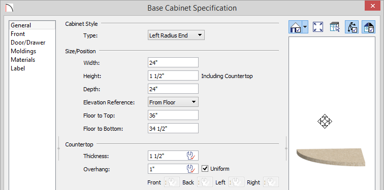 """Base Cabinet Specification showing Height of 1 1/2"""" and Floor to Bottom of 34 1/2"""""""
