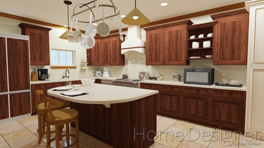 Kitchen with seating at island