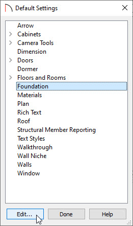 Foundation option selected in the Default Settings