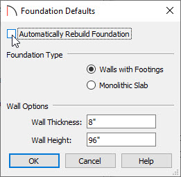 Uncheck Automatically Rebuild Foundation in the Foundation Defaults dialog