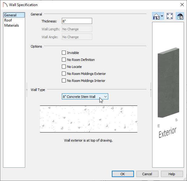 Changing the Wall Type in the Wall Specification dialog