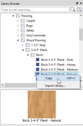 Library Browser with Birch flooring material selected with right-click showing Copy option on right-click menu
