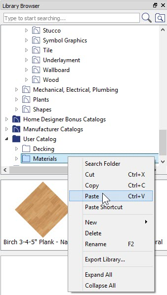 Library Browser showing Paste option on Right-Click menu when Right-Click on User Catalog