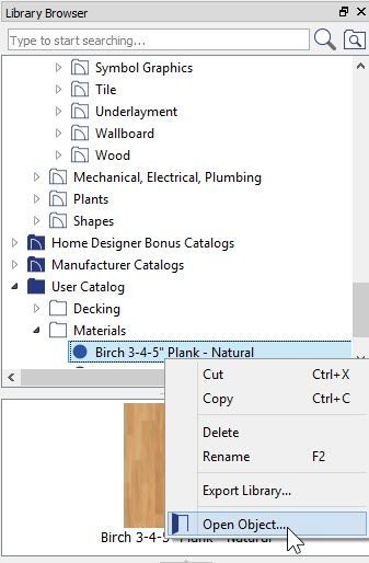 Library Browser showing Right-Click menu on material item in User Catalog with Open Object selected